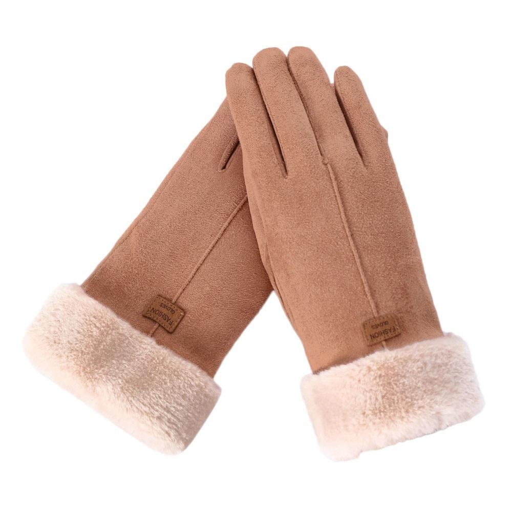 Women Winter Gloves Mittens Thick Plush Warm Full Finger