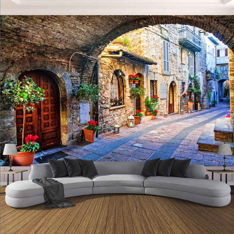 European Style City Street Landscape Mural Wallpaper Living Room Bedroom Background Wall Covering Home Decor Papel De Parede 3 D custom mural wallpaper european style 3d stereoscopic new york city bedroom living room tv backdrop photo wallpaper home decor