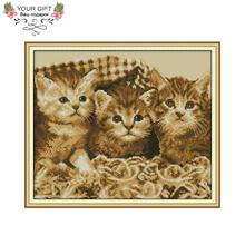Joy Sunday DA231 14CT 11CT Stamped and Counted Home Decoration Three Little Kittens Needle