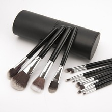 2015 Professional  New 12pcs Makeup Brushes Set  Cosmetic Make Up Tools With Elliptic Cylinder kit, Free Drop shipping
