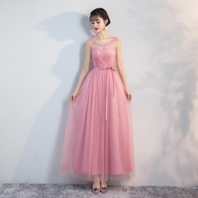 Vestido Azul Marino Sexy Prom Dress Simple Floral Wedding Party Dresses for Women  Bridesmaid Dresses Red Bean Pink  EmpireBridesmaid Dresses   -