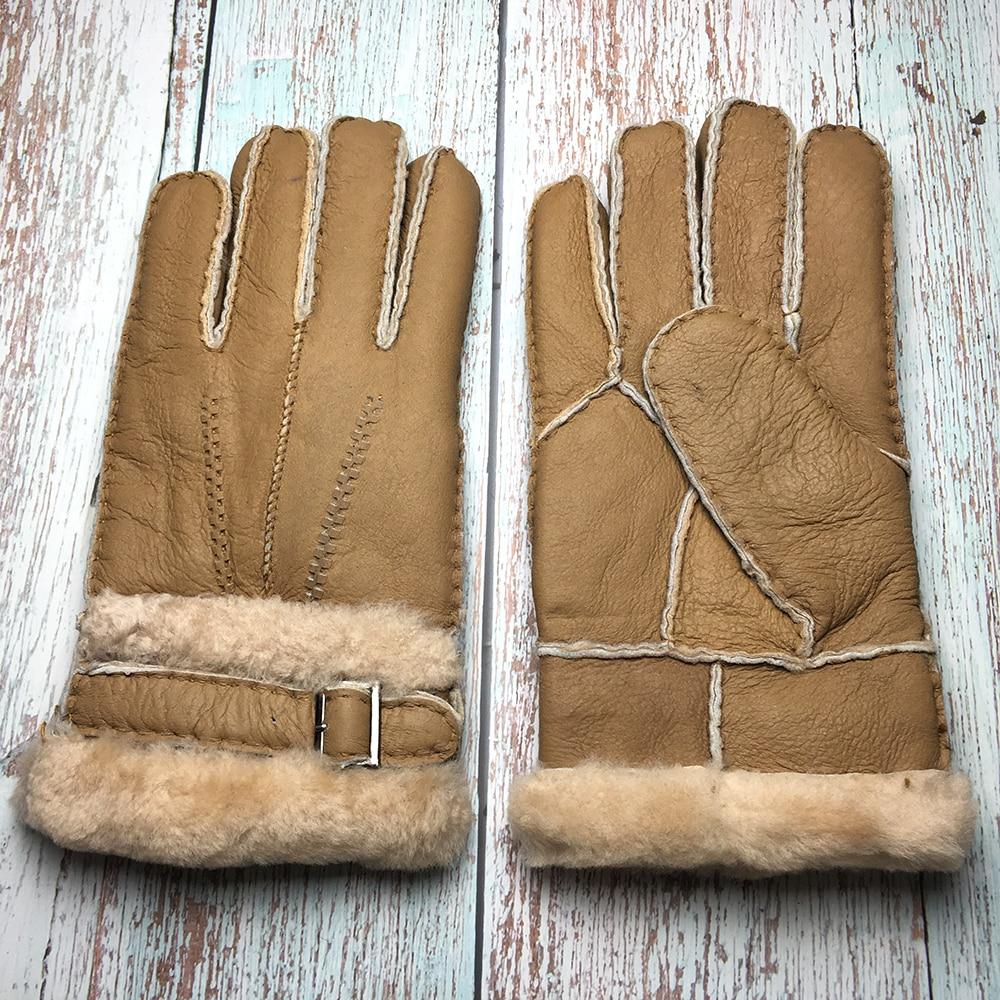 Winter Gloves Designer Men's Gloves High Quality Real Genuine Leather Sheepskin Mittens Warm Winter For Fashion Male Luvas G19
