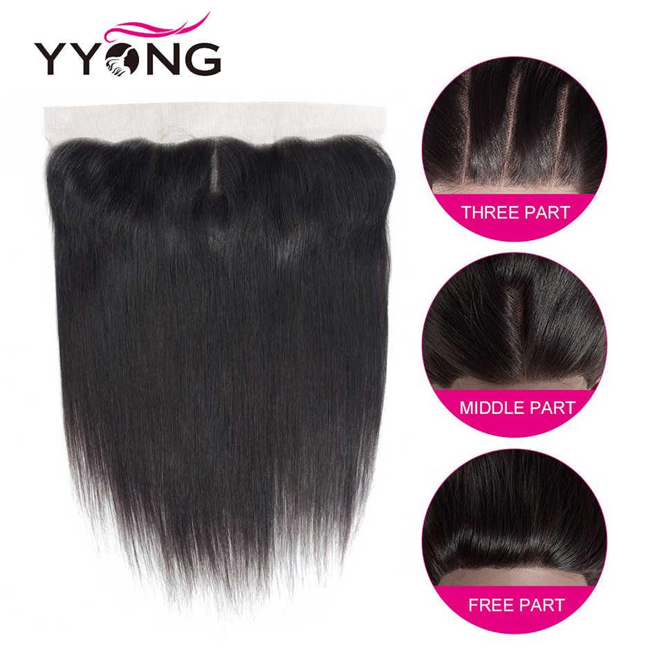 YYong Braziliaanse Steil Haar 4 Bundels Met Frontale 100% Menselijk Haar Met 13*4 Gratis Midden Deel Oor Tot oor Kant Frontale Remy