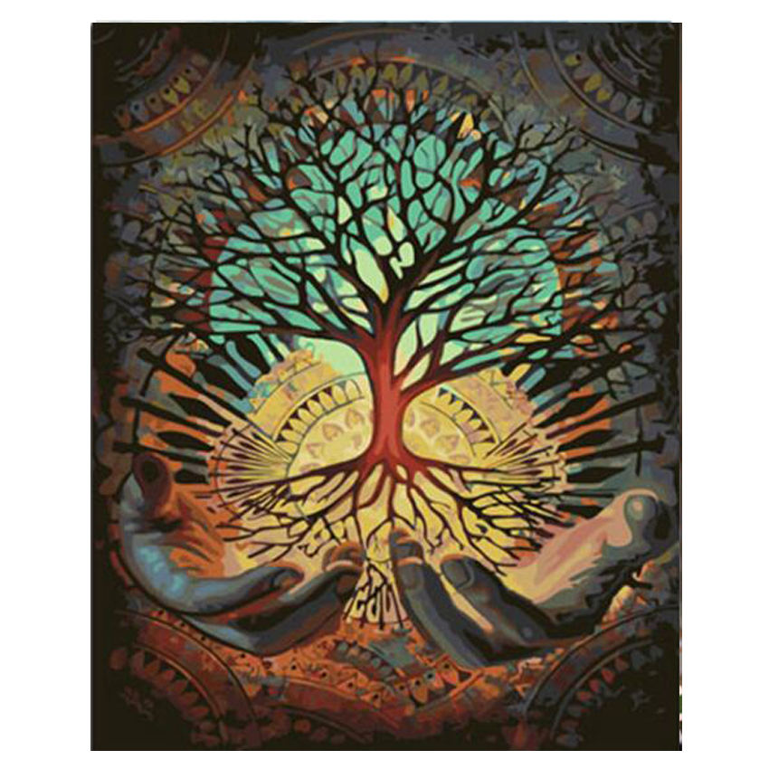 WONZOM Tree In Hand Abstract DIY Painting By Numbers Acrylic Paint On Canvas Kit Landscape For Home Decor Art