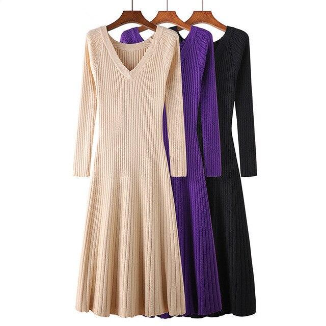 Женское трикотажное платье свитер, длинное облегающее платье с эластичной резинкой на осень и зиму, D240|Платья|   | АлиЭкспресс