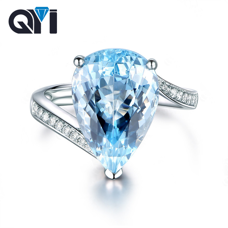 Pear Shaped Blue Topaz Solitaire 925 Sterling Silver Ring Size 6 7 8 9
