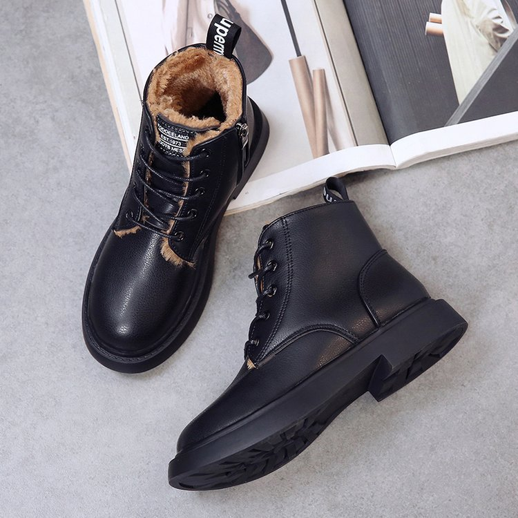 New Genuine Leather women boots winter whit fur Waterproof shock absorption warm breathable wear-resistant non-slip women shoes (19)