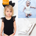 Stylefish 2016 Summer New Cotton Black And White Triangular Girls Leotard Female Baby Coveralls Package Fart Lace Veil Pompon