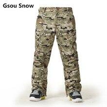 Gsou snow esquí pantalones hombres pantalones de esquí de snowboard de invierno de los hombres de camuflaje pantalones pantalones esqui impermeables