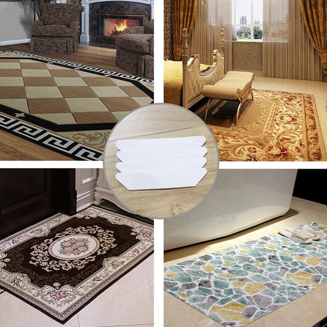 8PCS/Pack Non-Slip Rug Carpet Mat Grippers Anti Skid Corners Pad for Bathroom Kitchen Living Room Reusable Washable -996058