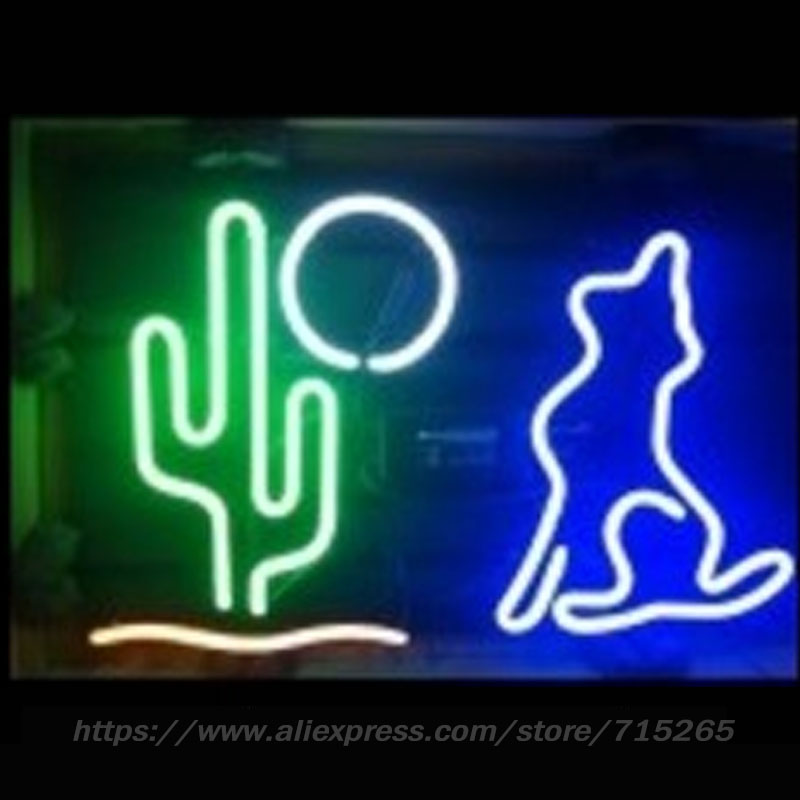Coyote Cactus Neon Sign Neon Light Sign cool signs Arcade handcraft Real Glass Tube Neon Lamps Publicidad Neon Light 17x14 inch