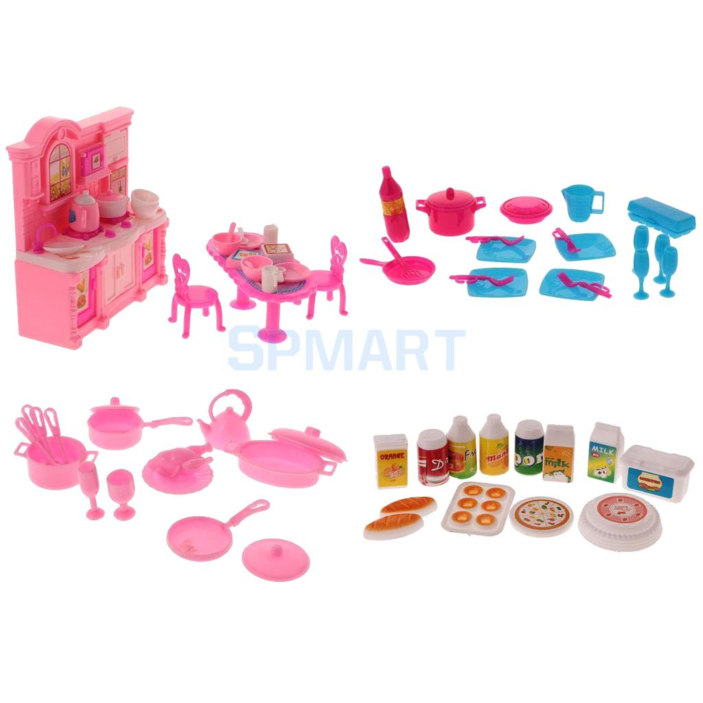 68Pcs Dollhouse Miniatures Tableware Cookware Set Food Kitchenware Dolls Kitchen Accessories for Barbie Kids Pretend Play Toys new kitchen tableware doll accessories for barbie dolls toys girls baby play house toys