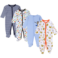 2018 High Quality 4pcs Baby Boys Romper Long Sleeves Baby Rompers 100 Cotton Newborn Infant Clothing