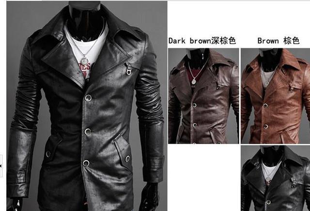 2013 Men Skinny Turn down Collar PU Jacket Men Long Version Jacket ...