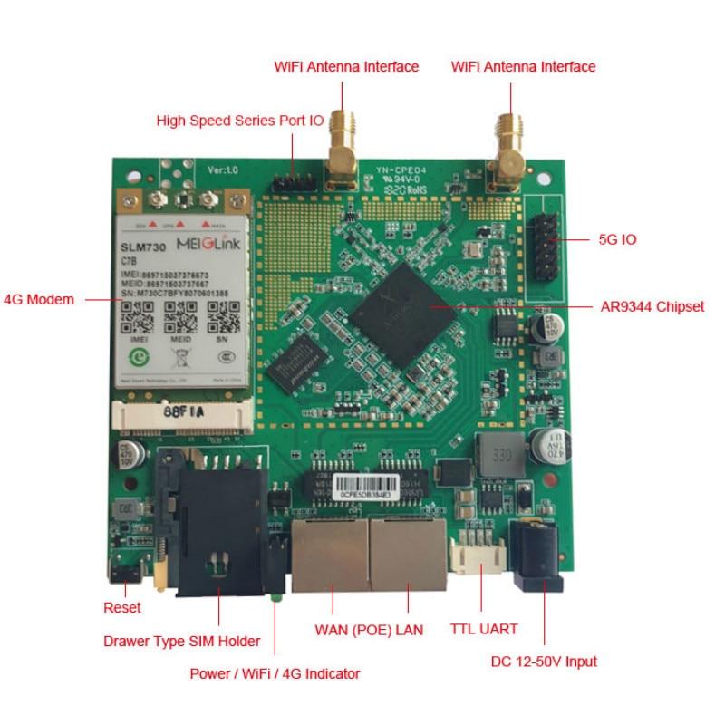 OEM/ODM qualité AR9344 DDR2 64 MB 3G 4G Wifi carte sans fil/PCBA ordinateur fil connecteur rj45 - 5