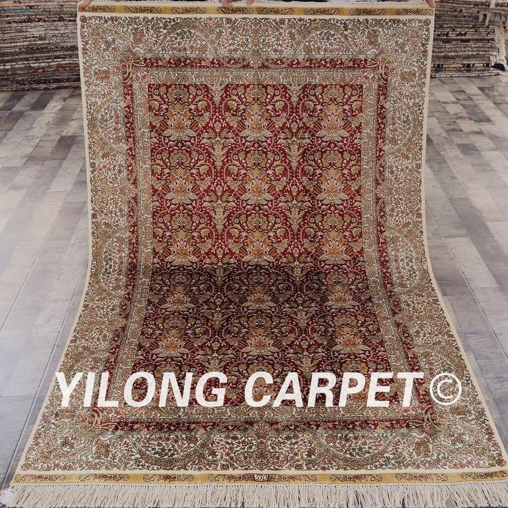 Traditional Kashmir Silk Handmade Hand Knotted Persian: Yilong 4'x6' Pure Silk Oriental Persian Handmade Carpet