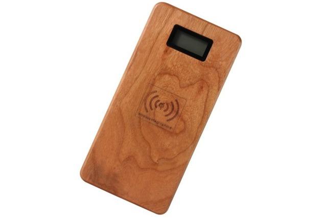 Madera 12000 mah banco de la energía qi de carga inalámbrica pad para samsung s6 lumia 920 lg g3 nexus 5 htc iphone dual usb inalámbrico cargador