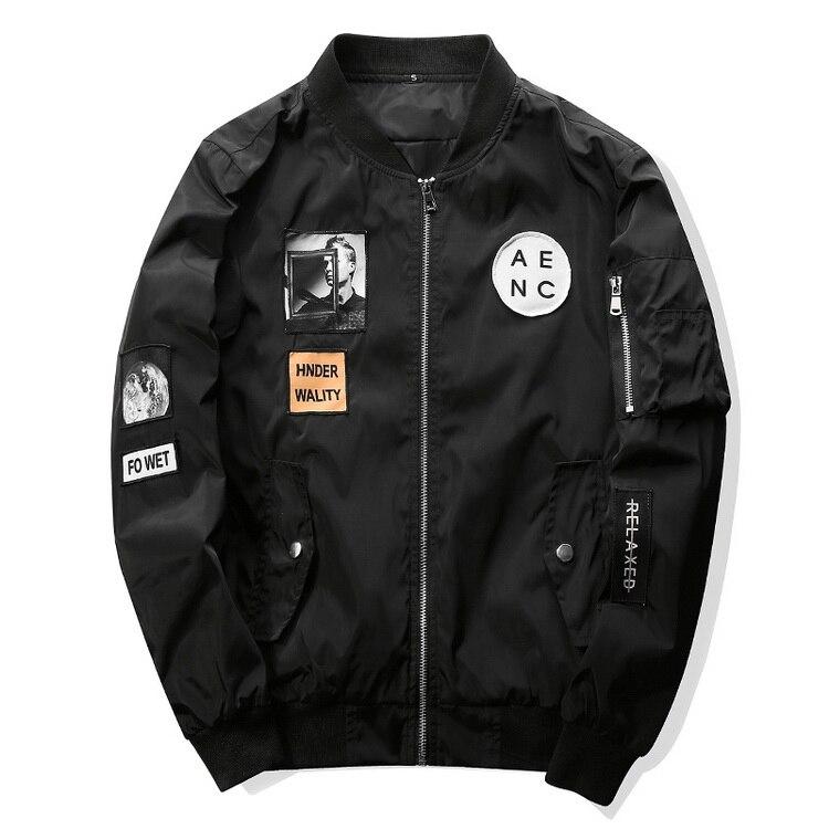 Fashion Men Bomber Jacket Hip Hop Patch Designs 2018 casual streetwear Slim Fit Pilot Bomber Jacket Coat Men Jackets Plus Size