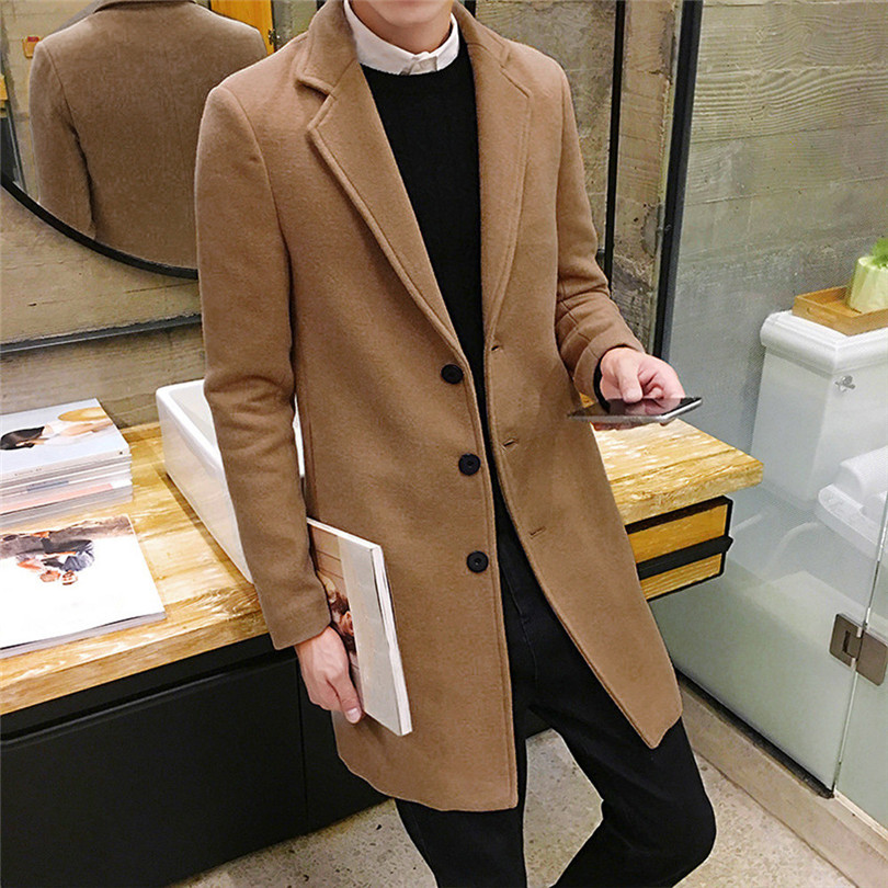 fashion Men Autumn Winter Formal Single Breasted Figuring Overcoat Daily casual Long Wool Jacket Outwear Top #4M25 (12)