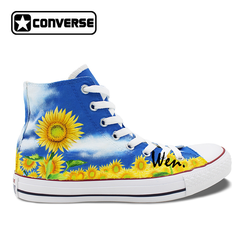 74aa7e7ad5c6 Women Men Converse Chuck Taylor Floral Sunflower Original Design Custom High  Top Hand Painted Sneakers Man Woman Shoes Gift-in Skateboarding Shoes from  ...