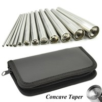 12pcs Professional Body Piercing Tool Surgical Stainless Steel Concave Ear Taper Stretching Kit Professional Insertion Pins Set