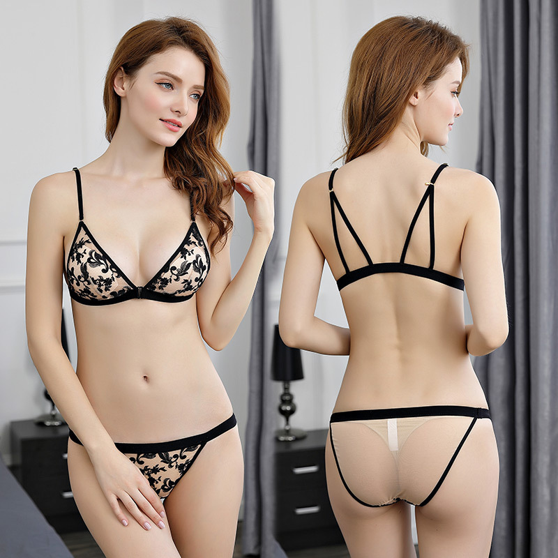 VVUES Sexy Lace Panties Seamless Women Lingerie Bra Set Sexy Bras Transparent Lace Wire Free Padded Triangle Cup Underwear Set in Bra Brief Sets from Underwear Sleepwears
