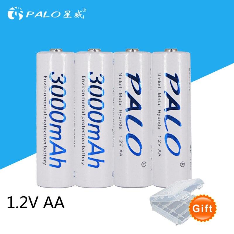4 uds/tarjeta PALO AA batería recargable AA NiMH 1,2 V 3000mAh Ni-MH 2A baterías recargables precargadas para cámara