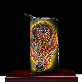 Hand Engraving Genuine Leather Wallets Carving Cobra Bag Purses Women Hand Sewing Long Clutch Vegetable Tanned Leather Wallet