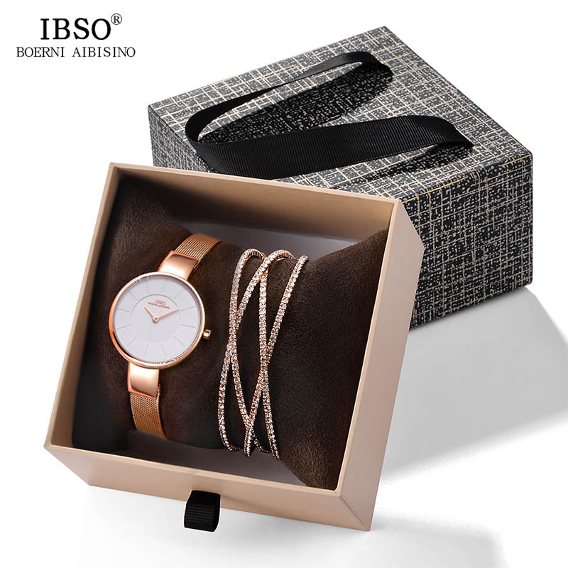 IBSO 2019 New Arrival Women Luxury Watch With Bracelet Fashion Female Crystal Bangle Watch Set Valentine's Day Gift For Ladies