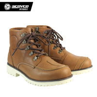 SCOYCO MT014 Motorcycle Touring Boots Vintage Design Casual Wear Cow Leather Riding Motorbike Street Racing botas moto Brown