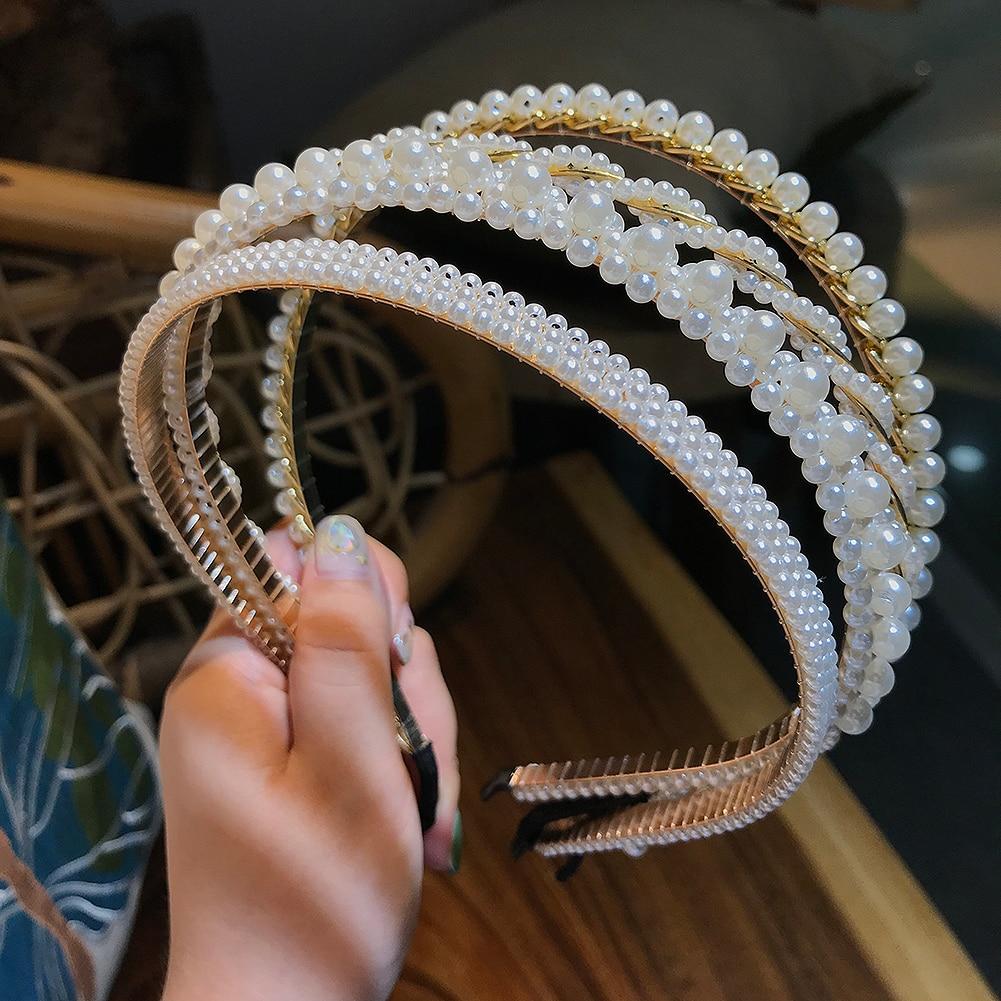 Flatfoosie-Diadema de lujo con perlas grandes para mujer, bandana elegante con personalidad salvaje, turbante, accesorio para el pelo