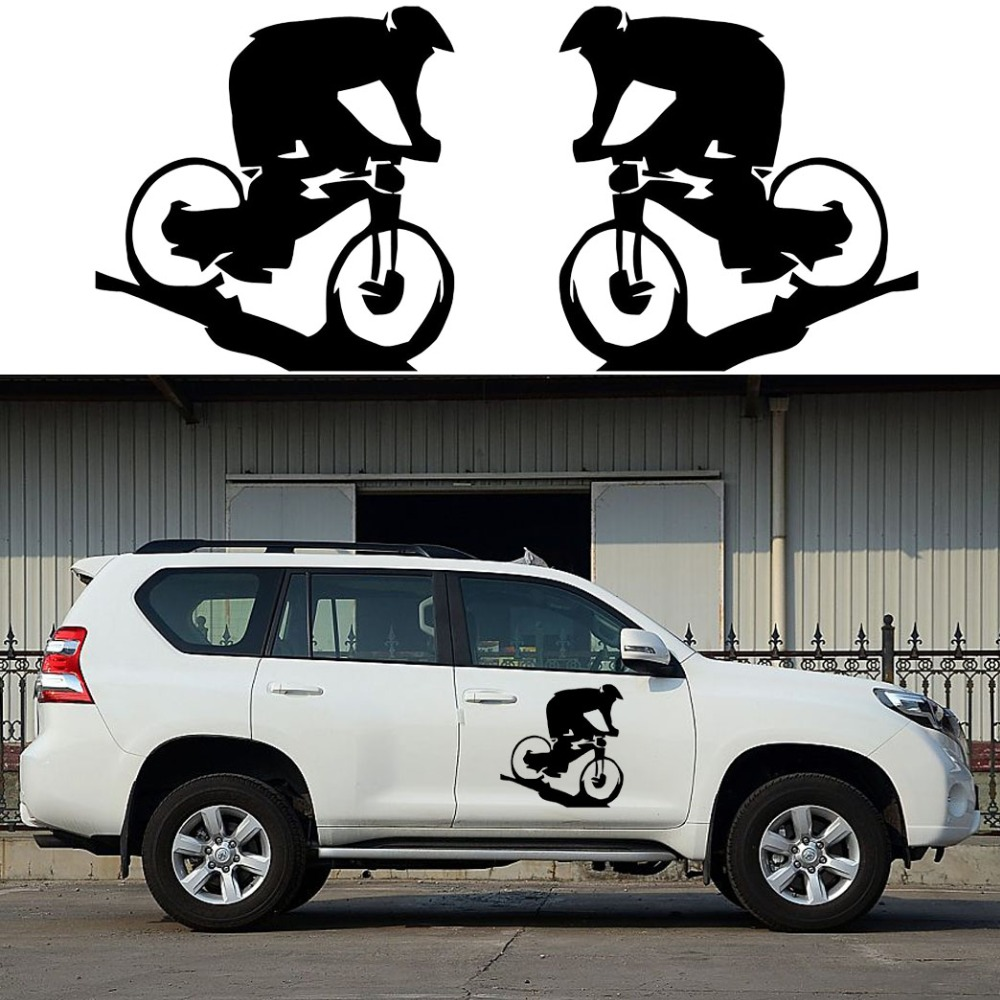2x Mountain Biker Graphics (one for each side) Camper Van Graphics Motor Home Vinyl Graphics Kit Decals SUV Truck Car Stickers