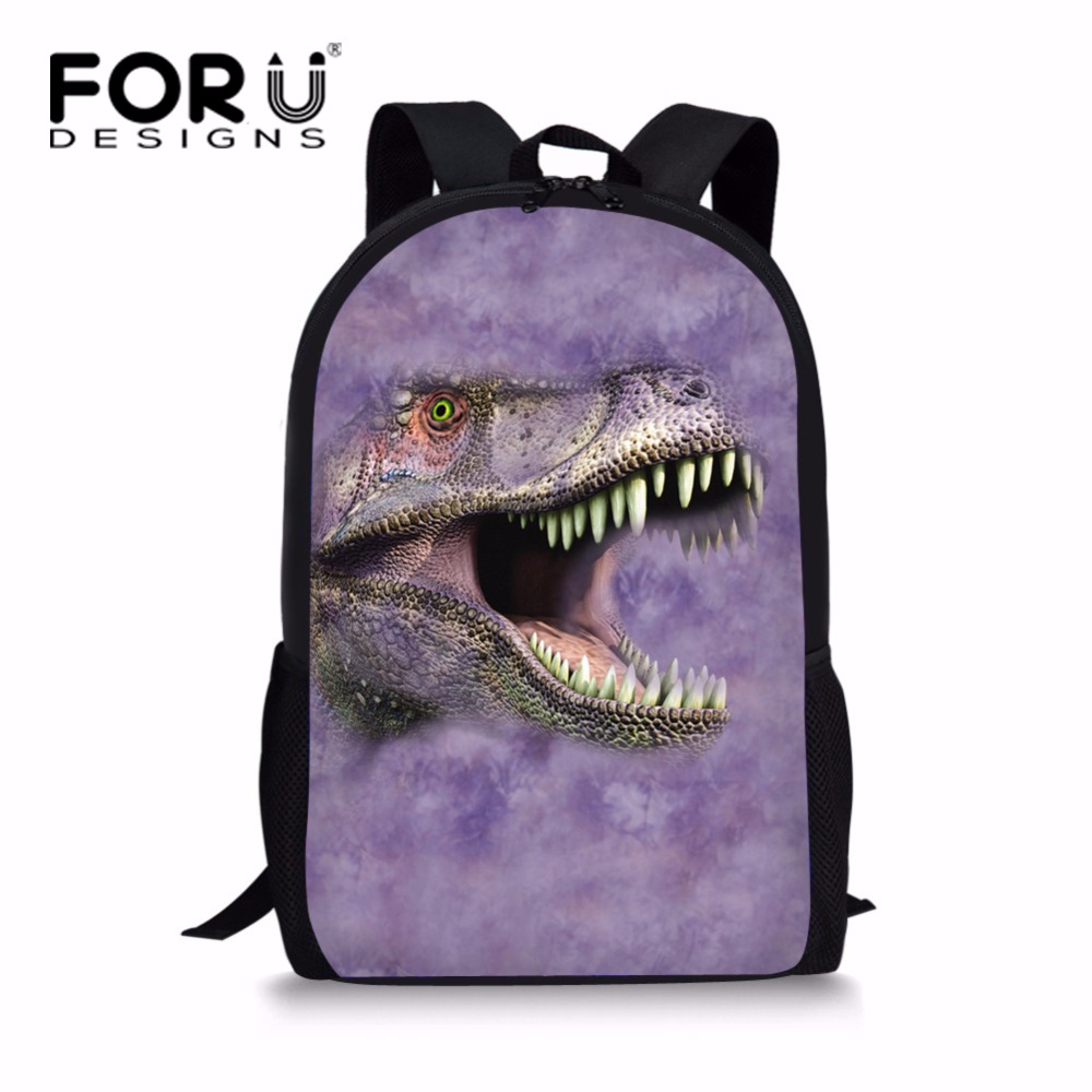 FORUDESIGNS Unique Kids Dinosaur Bagpack for School Cool Children Kids Wolf Owl Backpack Printing Junior Primary Child Bag Packs