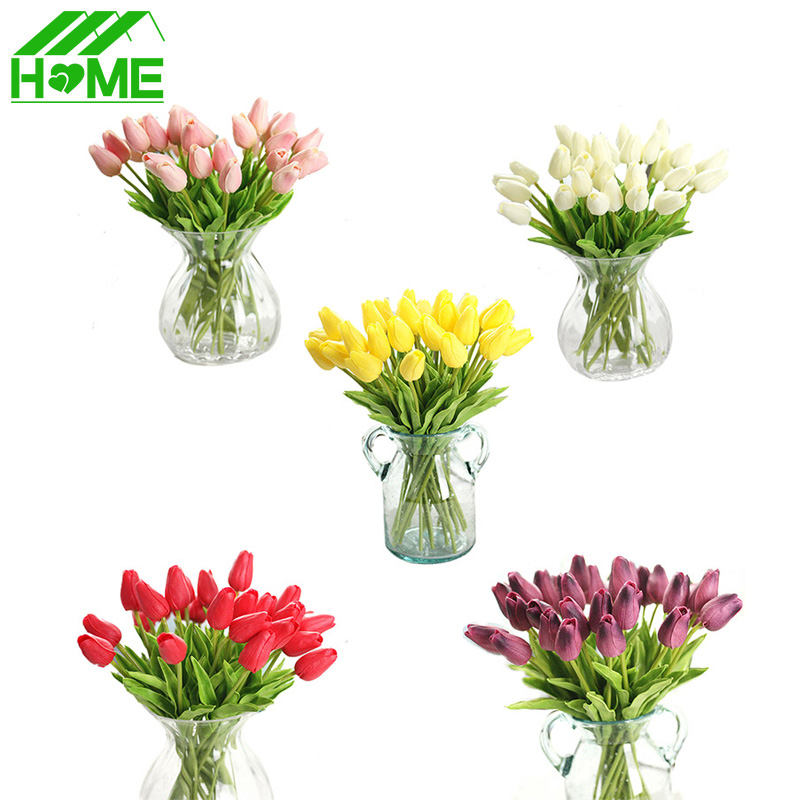10pcs artificial tulip flowers for wedding decoration with for Artificial flower decoration ideas