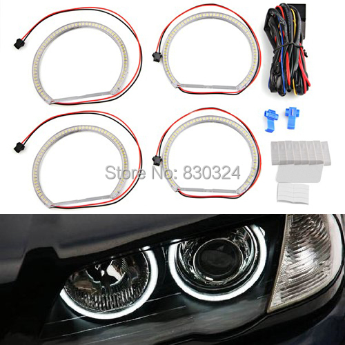 smd led angel eyes halo rings kit headlight for bmw e36 e38 e39 e46 with 4x 131mm 3528smd angel. Black Bedroom Furniture Sets. Home Design Ideas