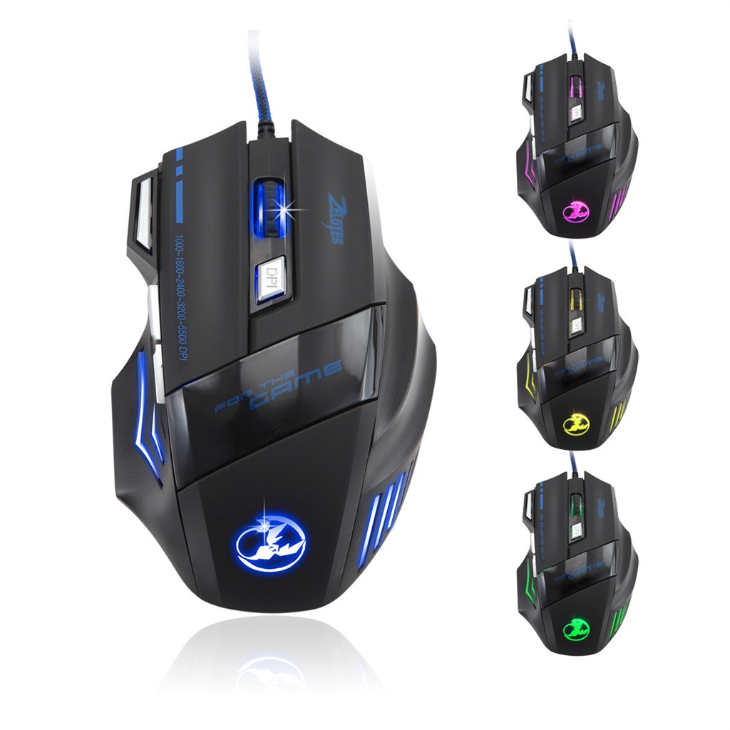 ZELOTES <font><b>T</b></font>-80 Professional Wired Mouse Gaming 7 Buttons 5500DPI LED Optical USB Computer Mouse Gamer for PC Laptop Notebook <font><b>515</b></font>#3 image