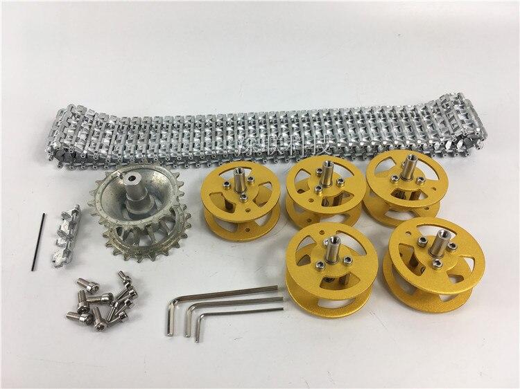 Kit d'entraînement de voie en métal bricolage + roue motrice + jeu de roues portantes pour kits de châssis de voiture intelligente de réservoir de Robot