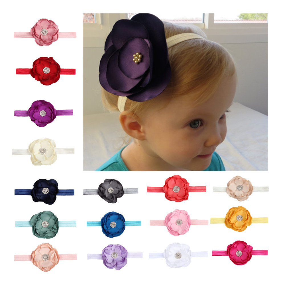 Colorful Baby Infant Flower Headband Elastic Hair Band Baby Girl Flower Stacked Petals With Diamond Headband Head Wear