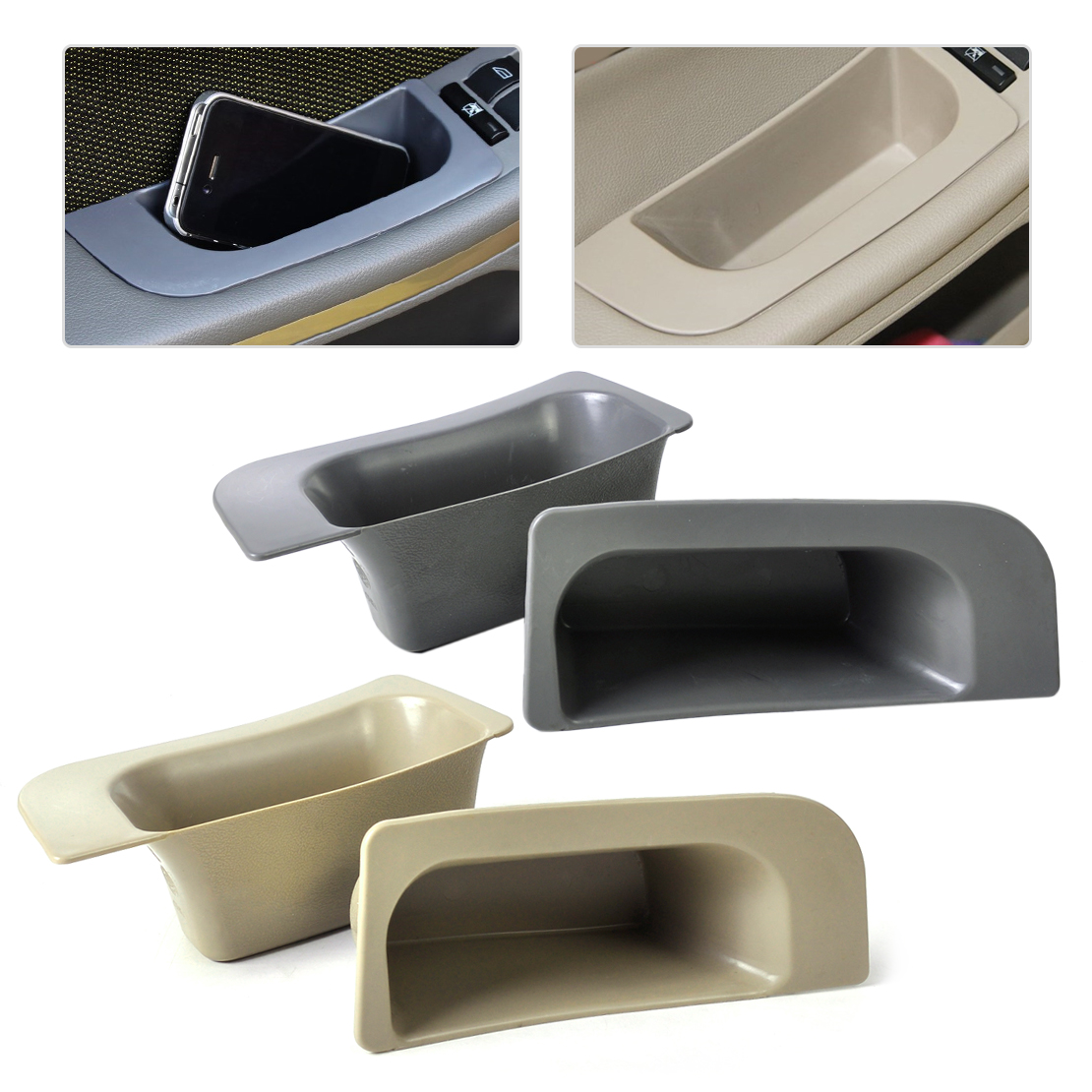 DWCX 2Pcs/lot Car Interior Left + Right Door Glove Slot Storage Box Container Holder Organizer Fit for Ford Focus 2009 2010 2011