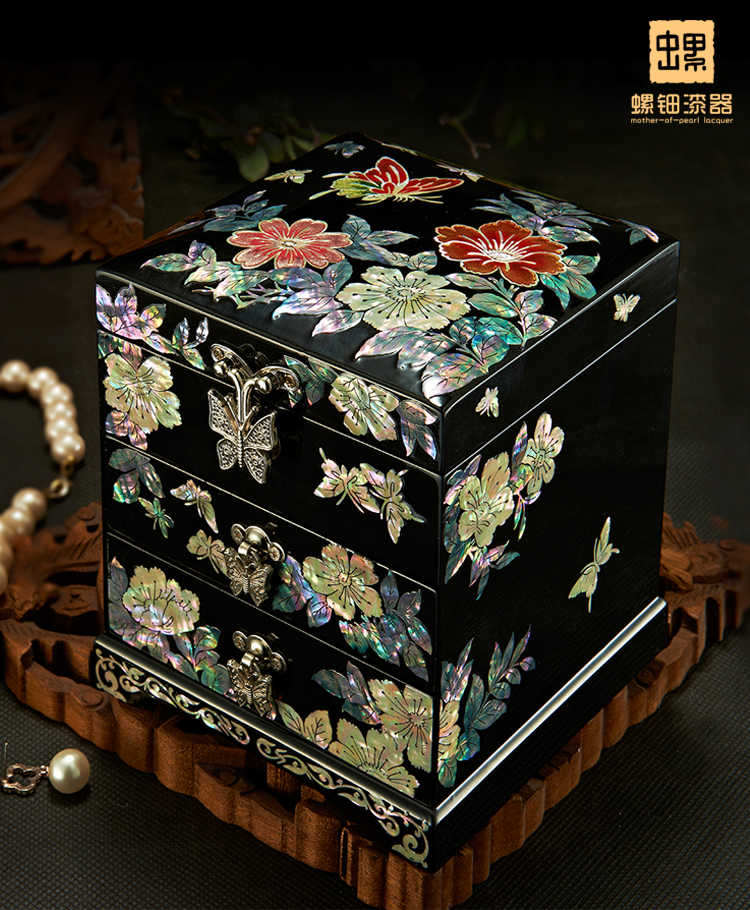 WOW Christmas Birthday wedding High grade gift BEST present TOP Hand carving wood Inlay Natural shells Jewelry Lacquer Box