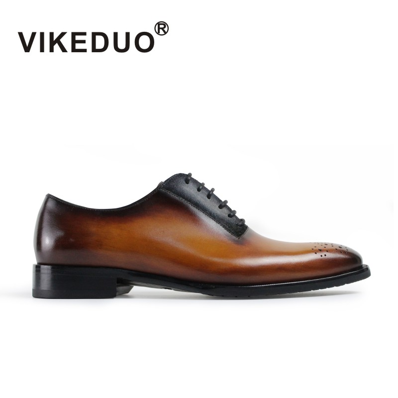 VIKEDUO Luxury Brand Fashion Vintage Lace Up Mens Oxford Shoes Yellow Brown Party Wedding Dress Pattern Shoe 100% Cow leather vikeduo luxury brand vintage retro handmade mens derby shoes brown fashion italy design wedding party shoes genuine leather