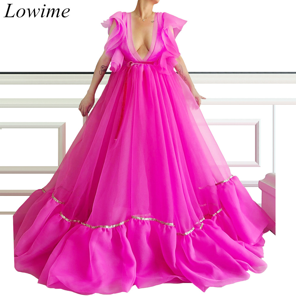 2019 Plus Size Fuchsia Long   Prom     Dresses   Deep V-Neck Sleeveless Sexy Tulle Beach Evening   Prom   Party Gowns Simple Design Custom
