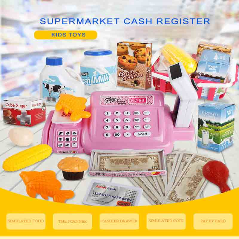 Children's Simulation Supermarket Cash Register Toy House Can Scan Boys And Girls Multi-fu