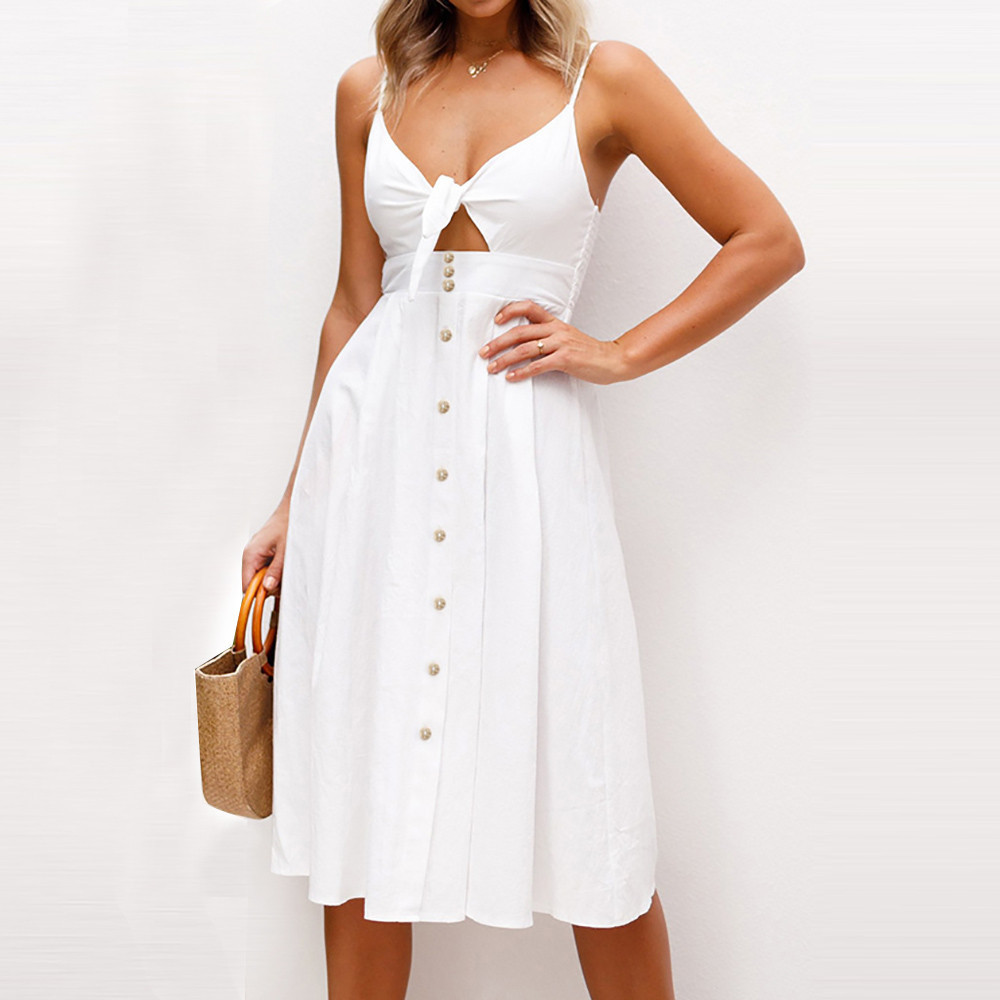 Bowknot Lace Up Summer Beach Buttons Party Dress