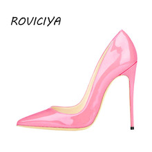 Pink Shoes Woman High Heels Shoes Wedding Shoes Women Pumps Pointed Toe Sexy 12 cm Stilettos Party Shoes QP018 ROVICIYA недорого