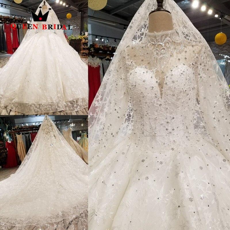 Abito di sfera di Alta Collo Del Merletto di Tulle Matrimonio Abito Da Sposa vestido de noiva Abiti Da Sposa D'epoca DELLA REGINA DA SPOSA robe de mariee WD118