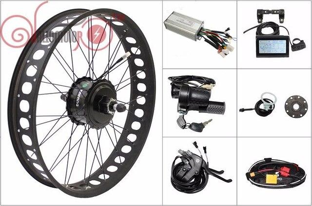 Free Shipping  Fat Tire 48V 500W Ebike kit di conversione 190mm Bafang Cassette Rear Wheel LCD, Controller, Throttle, Brakes