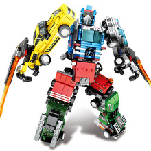 SEMBO Steel Mecha 4 In 1 Transformation Robot Creator Building Blocks Sets Bricks King Kong Assemble Educational Toys for kids