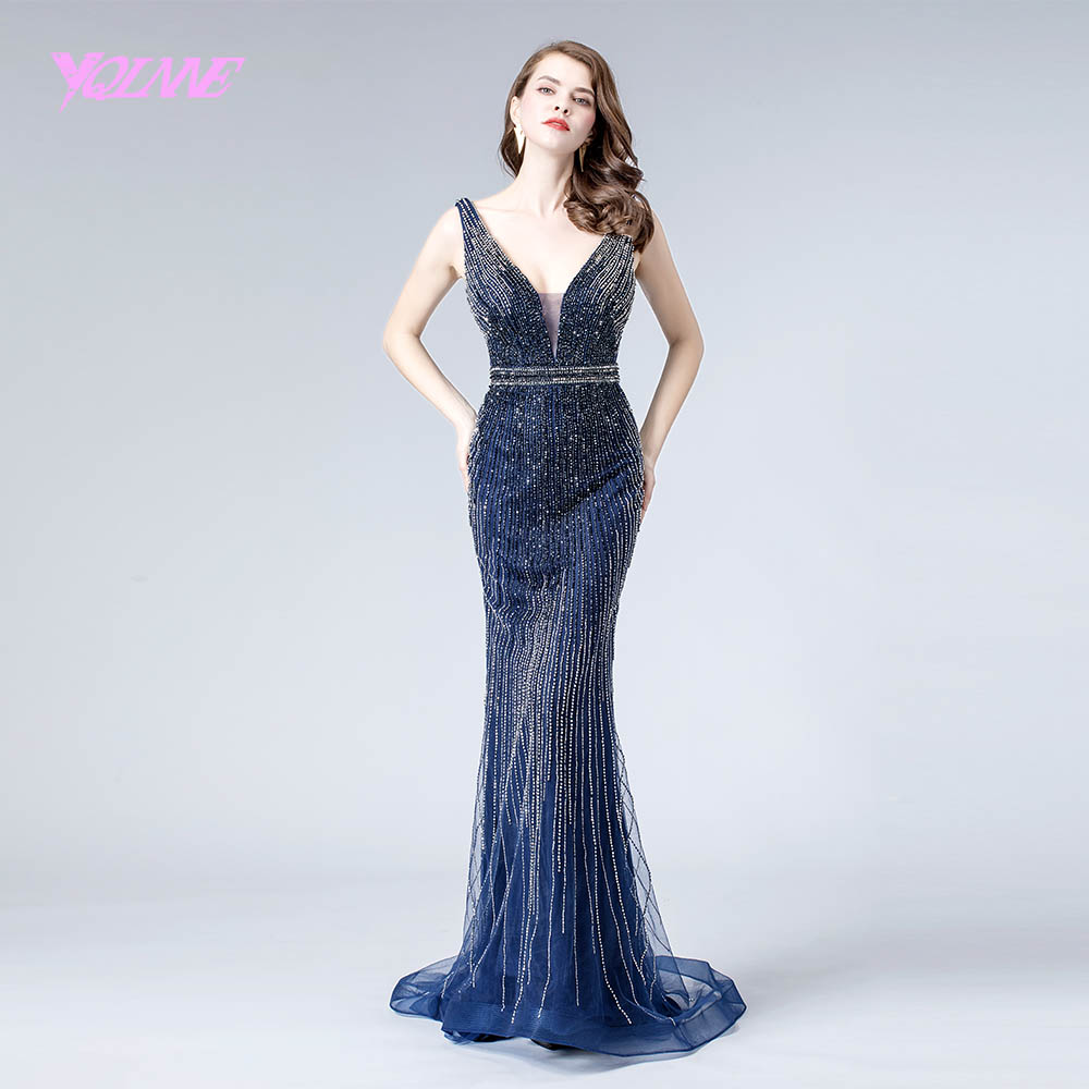 2019 Navy Crystals   Evening     Dress   Deep V Neck Formal Mermaid   Evening   Gown Pageant   Dresses   YQLNNE