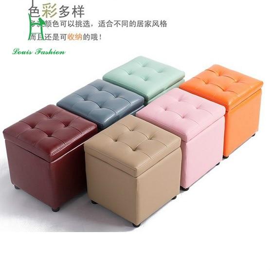Cuero de la PU caja de almacenamiento de las heces pies cuadrados ...